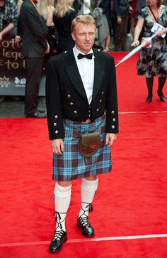 """Actor Kevin McKidd in tartan and Bonnie Prince Charles outfit at premiere of """"Brave"""" in Edinburgh."""
