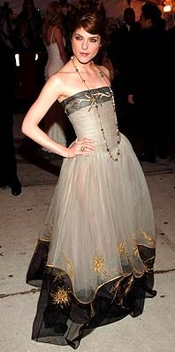 Selma Blair in vintage gold embroidered, bodice & hem, strapless, full skirted dress by  Chanel. - from Tailor and Stylist