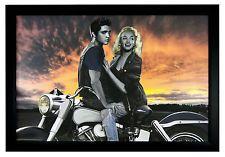 Marilyn Monroe and Elvis   marilyn monroe and elvis presley motorcycle 24x36 framed art poster
