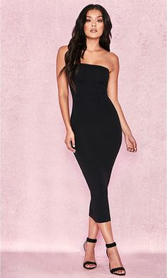 62f4529752 Going All Out Strapless Bodycon Casual Midi Dress - 4 Colors Available