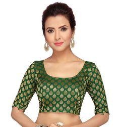 Beautiful Green Indian Readymade Sari Blouse Saree Blouse Choli Fabric Craft Tunic Top Floral Weaving Banglori Silk For Women MadeInIndia Sari Blouse Designs, Fancy Blouse Designs, Choli Designs, Mehndi Designs, Beautiful Blouses, Saree Blouse, Silk Fabric, Indian Wear, Ready To Wear
