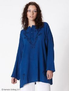 Hippy Top~Bohemian Cheesecloth Kurta Top With Embroidery~Fair Trade By Folio Gothic Hippy~CH47