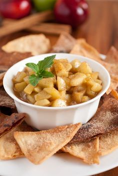 Apple Pie Dip - Cooking Classy  I'm going to bake the chips