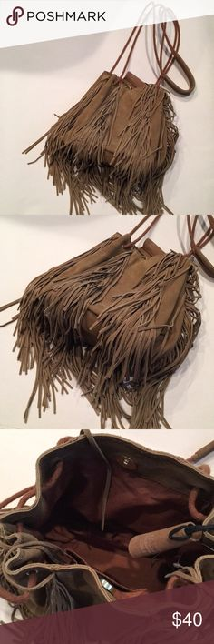 Urban Outfitters Leather Fringe Bag REAL leather  Perfect condition, barely used at all  Fun fringe all around Urban Outfitters Bags