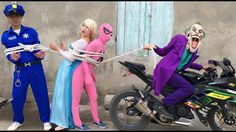 Joker Trò Đùa Bắt Trói Công Chúa Elsa Người Nhện Hồng Cảnh Sát và Spider...
