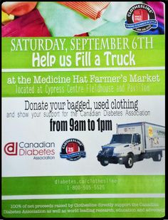 Visit the #medhat #farmersmarket and #donate to the #canadian #diabetes #clothesline Clothing Drive Saturday September 6th from 9am-1pm #whatitsforcharity #sm4sg #dogood #nonprofit
