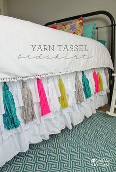 Idea: yarn tassle on your bedding   www.etsy.com/shop/JillyJillJewelry