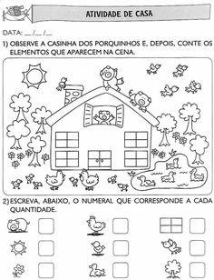 atividades de alfabetização de leitura para educação infantil Numbers Preschool, Preschool Math, Kindergarten Math, Kids Math Worksheets, Right Brain, Kids Learning Activities, Math For Kids, Math Games, Teaching