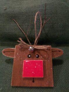 Reindeer Painted Wood Christmas Ornament