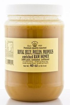 Stakich ROYAL JELLY BEE POLLEN PROPOLIS Enriched RAW HONEY 40-OZ - 100% Pure, Unprocessed, Unheated - by Stakich, http://www.amazon.com/dp/B001LQZOZS/ref=cm_sw_r_pi_dp_IW.Csb1DAWAS0