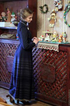 Купить Длинная юбка Метелица - тёмно-синий, в полоску, длинная юбка, зимняя юбка