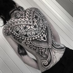 an ornamental tattoo artist, Jack Peppiette was Continue Reading and for more tattoo design → View Website Full Body Tattoo, Body Tattoos, Life Tattoos, Sleeve Tattoos, Hand Tattoos, Tatoos, Back Tattoo Women, Arm Tattoos For Women, Black Tattoos