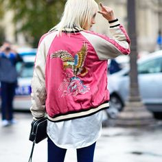Think of satin bomber jackets as a lightweight, more casual alternative. Look for one with fun embroidery on the back, but avoid anything that skews too '80s workout.