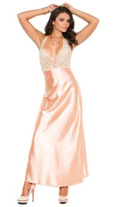 Персики и крем длинное платье, сатин и кружева платье, персик и белое платье