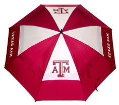 "NCAA Texas A&M University Team Golf Umbrella by Team Golf. $20.58. 62"" Umbrella. 100% nylon fabric. Auto open button. Double canopy wind protection design. -1. Keep dry while showing off your school spirit with this officially licensed NCAA® team umbrella from Team Golf. The 62"" umbrella boasts a double canopy design and an auto-open mechanism. The team logo boldly adorns the umbrella and the included sheath.. Save 18% Off!"