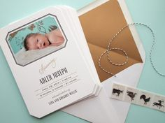 Oh So Beautiful Paper: Sophisticated Letterpress Birth Announcements for Baby Adler