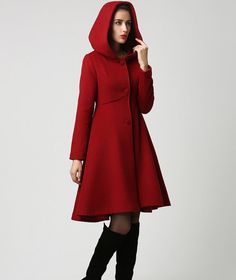 Red long wool coat - winter hooded coat - fit and flare style