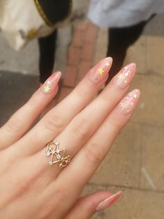 Amazing Acrylic Stiletto Nails Art Ideas That Are Trending – Seze Aycrlic Nails, Star Nails, Cute Nails, Hair And Nails, Coffin Nails, Bling Nails, Clear Glitter Nails, Clear Acrylic Nails, Almond Acrylic Nails