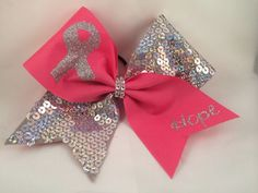 Cheer Bow - Breast Cancer Awareness Sequin