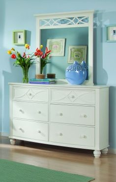 Sanibel White Dresser, As breezy as a day at the beach, the modern cottage styling of the Sanibel White Dresser will meld effortlessly with your casual personal