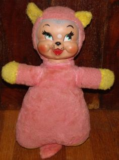Vintage Rubber Face Plush Cat Stuffed Animal Toy Rushton Pink Yellow