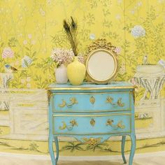 Yellow chinoiserie custom De Gournay wallpaper and an antique turquoise painted French chest Chinoiserie Furniture, Chinoiserie, Decor, Inspiration, Foyer Decorating, Mural, De Gournay Wallpaper, Painted Furniture, Home Decor