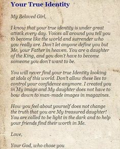 New Quotes God Daughter Words Ideas Daughters Of The King, Daughter Of God, Faith Quotes, Bible Quotes, Godly Quotes, Gods Princess, Jesus Christus, Identity In Christ, God Loves Me