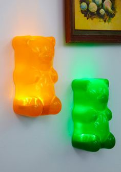 Two gummy bear lights is better than one. (Lol lights for my bf since his nickname is gummybear ha-ha) My New Room, My Room, Light In, Cute Room Decor, Gummy Bears, Furniture Decor, Funky Furniture, Room Inspiration, Gadgets