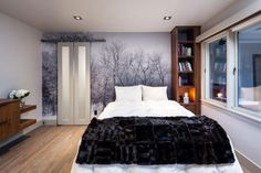 Neutral Master Bedroom With Tree Mural >> http://www.hgtv.com/design-blog/design/jungle-book-inspired-rooms?soc=pinterest