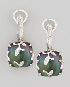 O5434 Frederic Sage 18k White Gold Vine Black Mother-of-Pearl Topaz Diamond Earrings