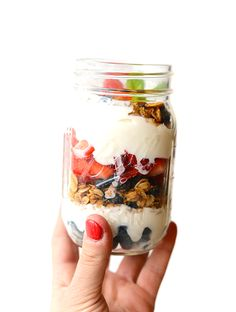 Yogurt and Granola Parfait - Layer up Greek yogurt, fresh berries, and your favorite homemade granola for the simplest mason jar parfait breakfast!