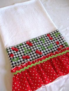 Pretty, practical and functional! Dress up your kitchen with this ruffled flour sack dish towel or surprise your favorite cook with a one of kind