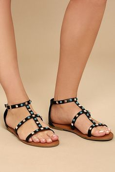 Antonina Black Studded Gladiator Sandals