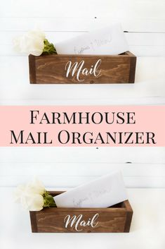 Farmhouse style mail organizer | Perfect place to store your mail instead of piling it on the kitchen counter | functional and beautiful organization | This would blend perfectly into any rustic or farmhouse styled home | #affiliatelink #homeorganization #modernfarmhouse #farmhousedecor #farmhousestyle #etsy #handmade #commissionlink #oybpinners