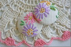 vintage linens to recover buttons or magnets