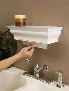 Paper towel dispenser and shelf…smart. I think this is my favorite paper towel dispenser idea! Paper towel dispenser, great for kitchen, bathroom and over utility sink in laundry room. Comes in white, black, and brown. @ Home Improvement Ideas Home Design, Interior Design, Design Ideas, Rv Interior, Diy Design, Diy Craft Projects, Home Projects, Diy Crafts, Craft Ideas