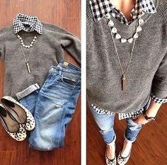 LOVE this outfit from top to bottom! I love gingham and the shirt with the sweater and jeans. So cute. Perfect little flats to go with it.