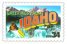The Idaho State Postage Stamp  Depicted above is the Idaho state 34 cent stamp from the Greetings From America commemorative stamp series. The United States Postal Service released this stamp on April 4, 2002. The retro design of this stamp resembles the large letter postcards that were popular with tourists in the 1930's and 1940's.