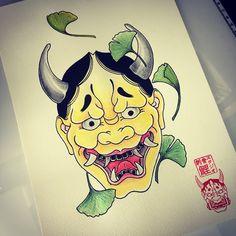 Hannya, Ginkgo, japanese tattoo
