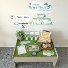 I must say, setting up discovery tables are my new favourite thing ever! I set u. I must say, setting up discovery tables are my new favourite thing ever! I set up this living things and their needs Kindergarten Science, Kindergarten Classroom, Science Activities, Activities For Kids, Science Area Preschool, Childcare Activities, Reggio Inspired Classrooms, Reggio Classroom, Classroom Setting