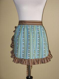 Blue & brown striped half apron
