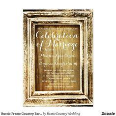 "Rustic Frame Country Barn Wood Wedding Invitations 4.5"" X 6.25"" Invitation Card"