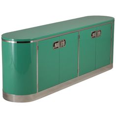 Jade Green Lacquered and Nickel Plated Mastercraft Cabinet / USA, 1970s