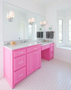 Pink girly bathroom ideas pink vanity modern home interior decoration ideas Hot Pink Bathrooms, Pink Bathrooms Designs, Girl Bathrooms, Bathroom Pink, Small Bathroom, Girl Bathroom Ideas, Master Bathroom, Bathroom Storage, Pink Baths