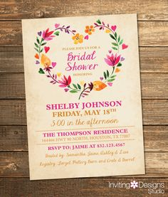 Bridal Shower Invitation, Watercolor, Floral, Spring, Summer, Pink, Orange, Yellow, Flowers, Retro, Vintage, Tan (PRINTABLE FILE) by InvitingDesignStudio on Etsy