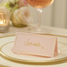 Pink with gold foil place cards are a simple but beautiful way to do place settings at a wedding. - Pastel Perfection at GingerRay.co.uk