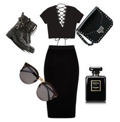 """""""Black on black 🖤"""" by marieke-rutgers on Polyvore featuring mode, River Island, RED Valentino, Valentino, Illesteva en Chanel"""