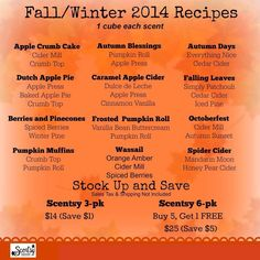 Fall/Winter recipes2014 for scentsy! https://brighidporter.scentsy.us