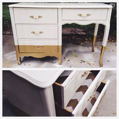 Gold Dipped French Provincial Desk by HayleonVintage on Etsy