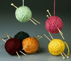 DIY Styrofoam Ball Christmas Ornament — Yarn Ball Ornaments from FaveCrafts also make great hostess gifts. Ornament Crafts, Diy Christmas Ornaments, Christmas Decorations, Cozy Christmas, Ball Ornaments, Crochet Ornaments, Christmas Balls, Christmas Crafts To Make, Christmas Projects